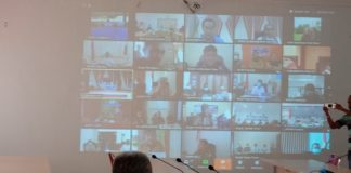 Tampilan Layar Video Telecoference di Ruang Aula Kantor Bupati Lembata. (Foto Doc. Diskominfo Kab Lembata)