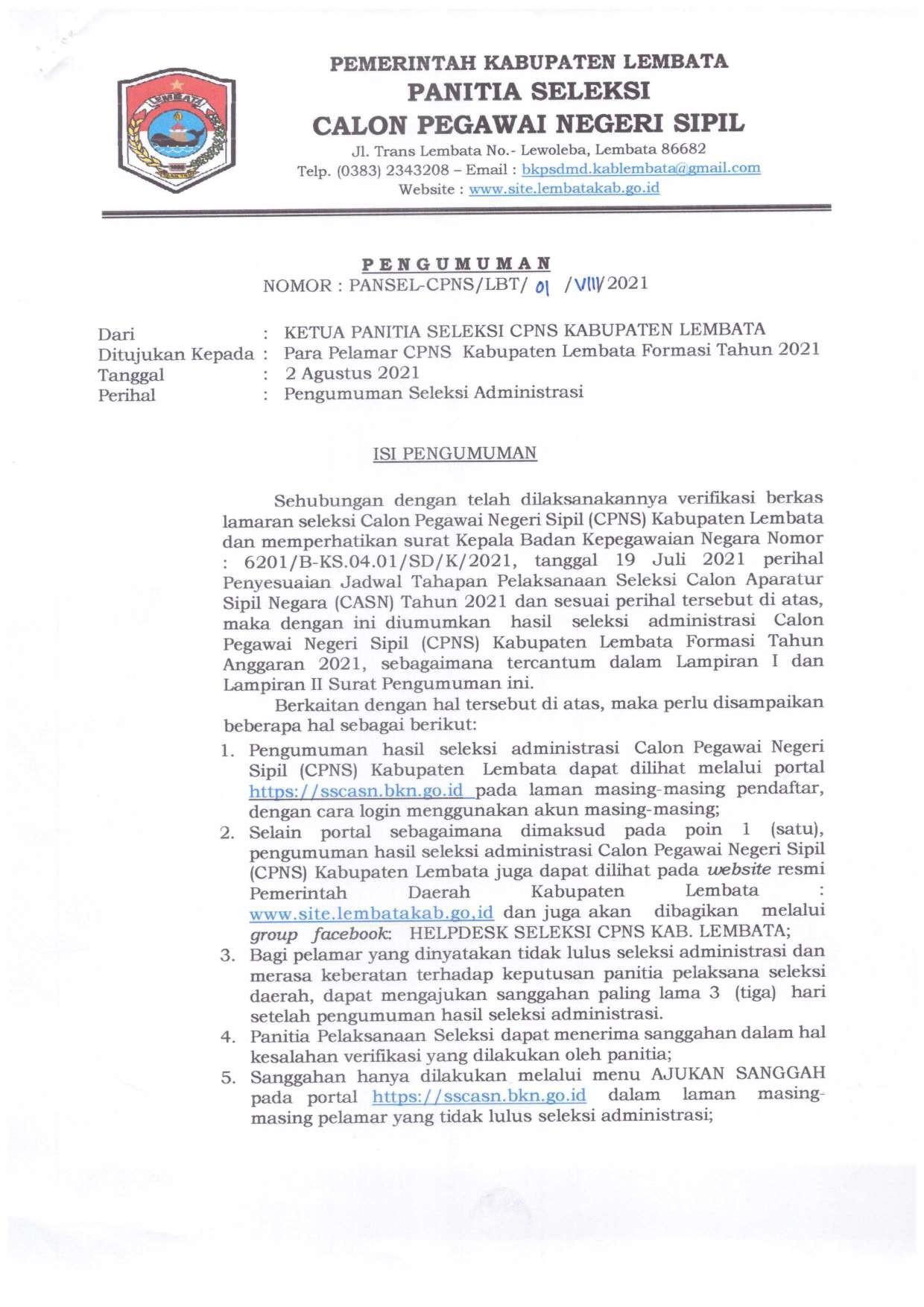 Pengumuman Seleksi Administrasi CPNS Kabupaten Lembata Tahun 2021